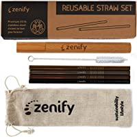 Zenify Reusable Straws Set - Metal Stainless Steel Straight Drinking Straw with Wooden Case and Canvas Storage Bag for Eco Friendly Sustainable Earth (4 Straws + 1 Case + 1 Cleaner + 1 Bag)