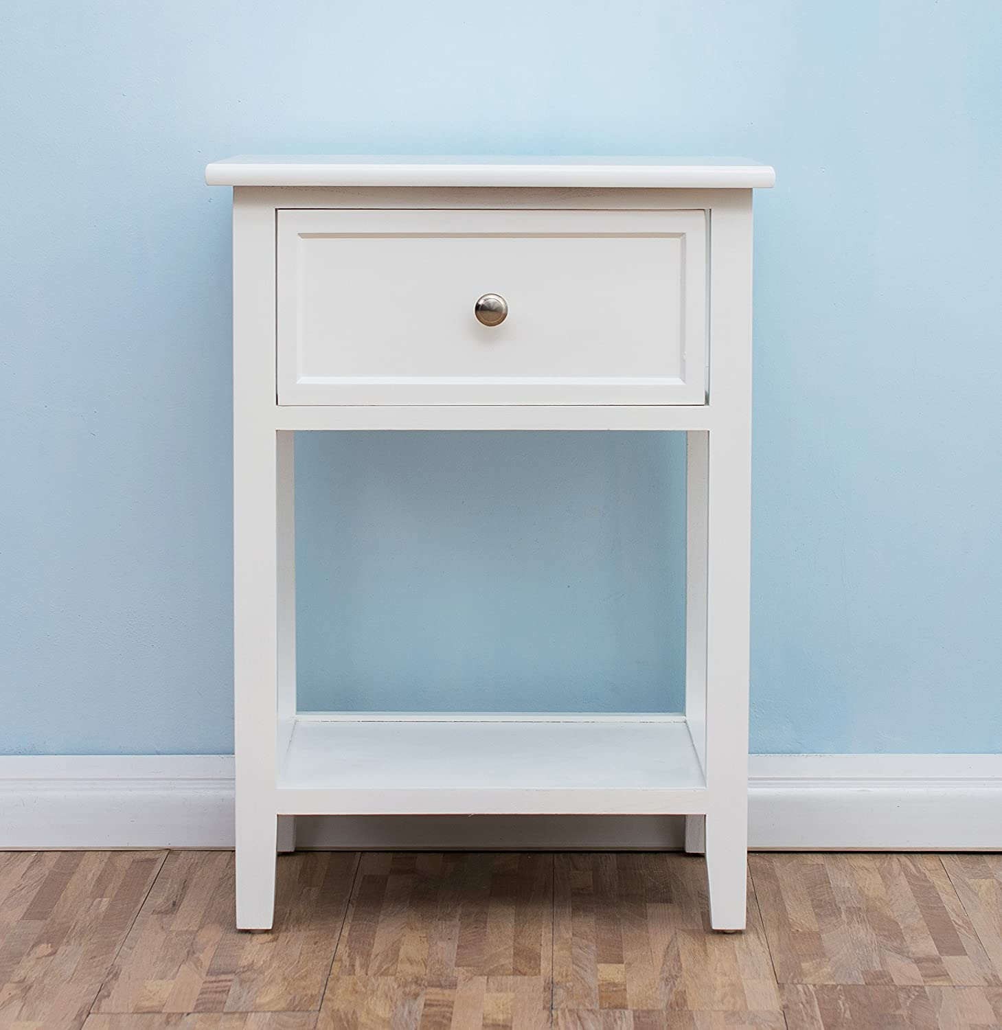 Cherry Tree Furniture Wood White Bedside Table With Drawer: Amazon ...