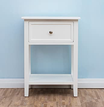 CherryTree Furniture Wood White Bedside Table With Drawer: Amazon.co ...