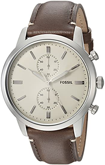 c994ed60316b Fossil Men s  44mm Townsman  Quartz Stainless Steel and Leather Casual  Watch