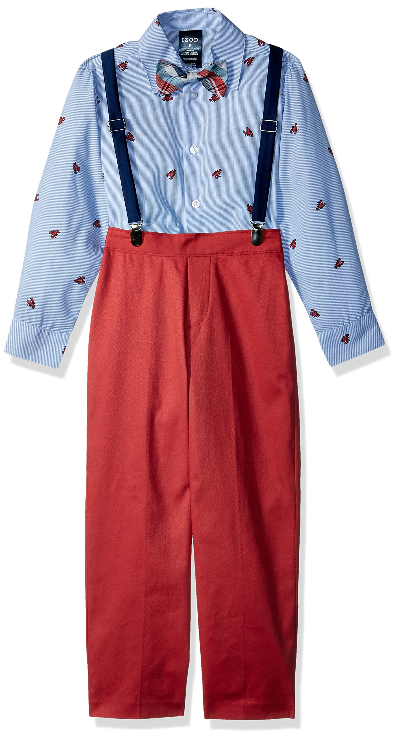 IZOD Little Boys' Four Piece Formal Suspender Set, Bubble Gum, 5