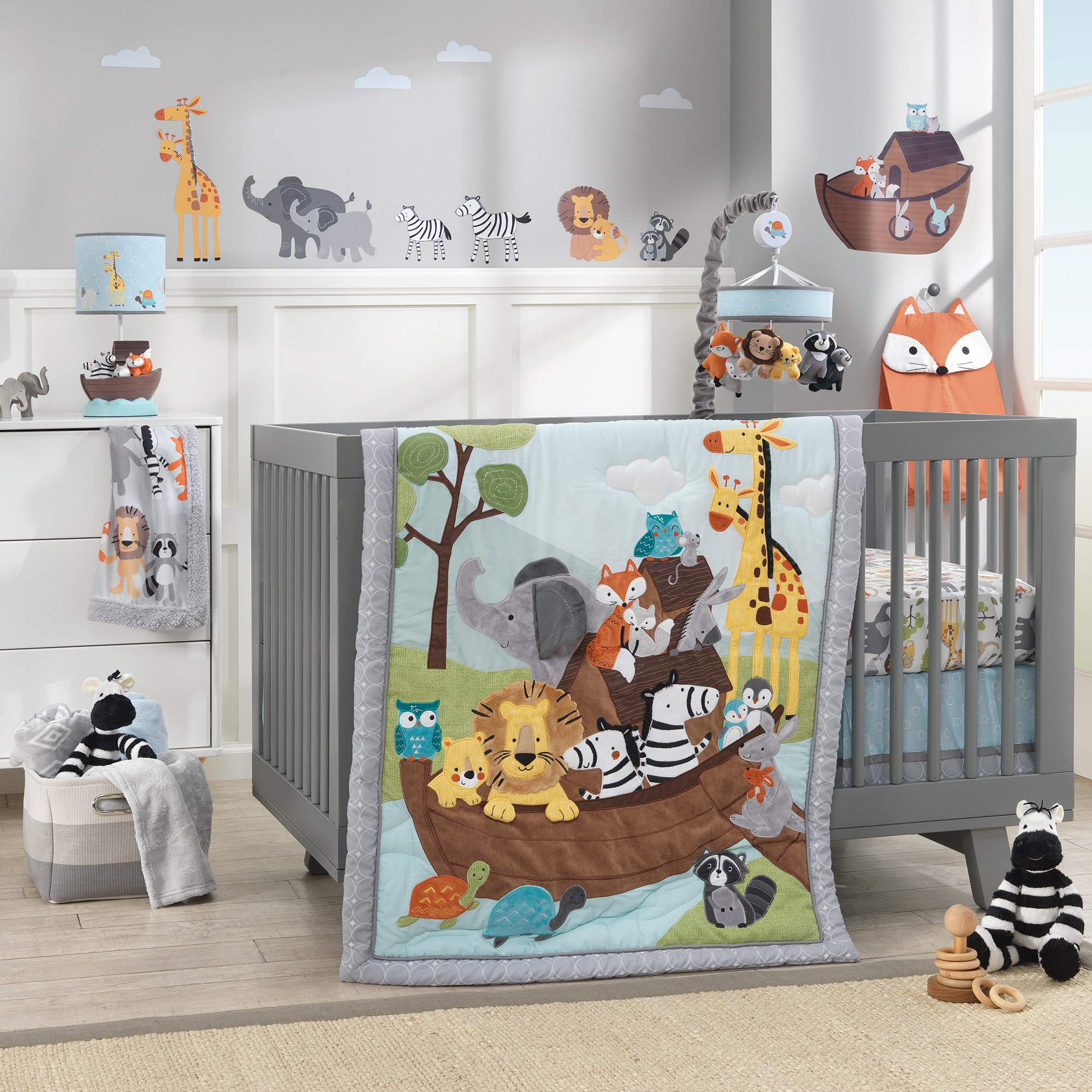 Lambs & Ivy Two of A Kind Noah'S Ark Animals 4 Piece Crib Bedding Set, Blue/Gray