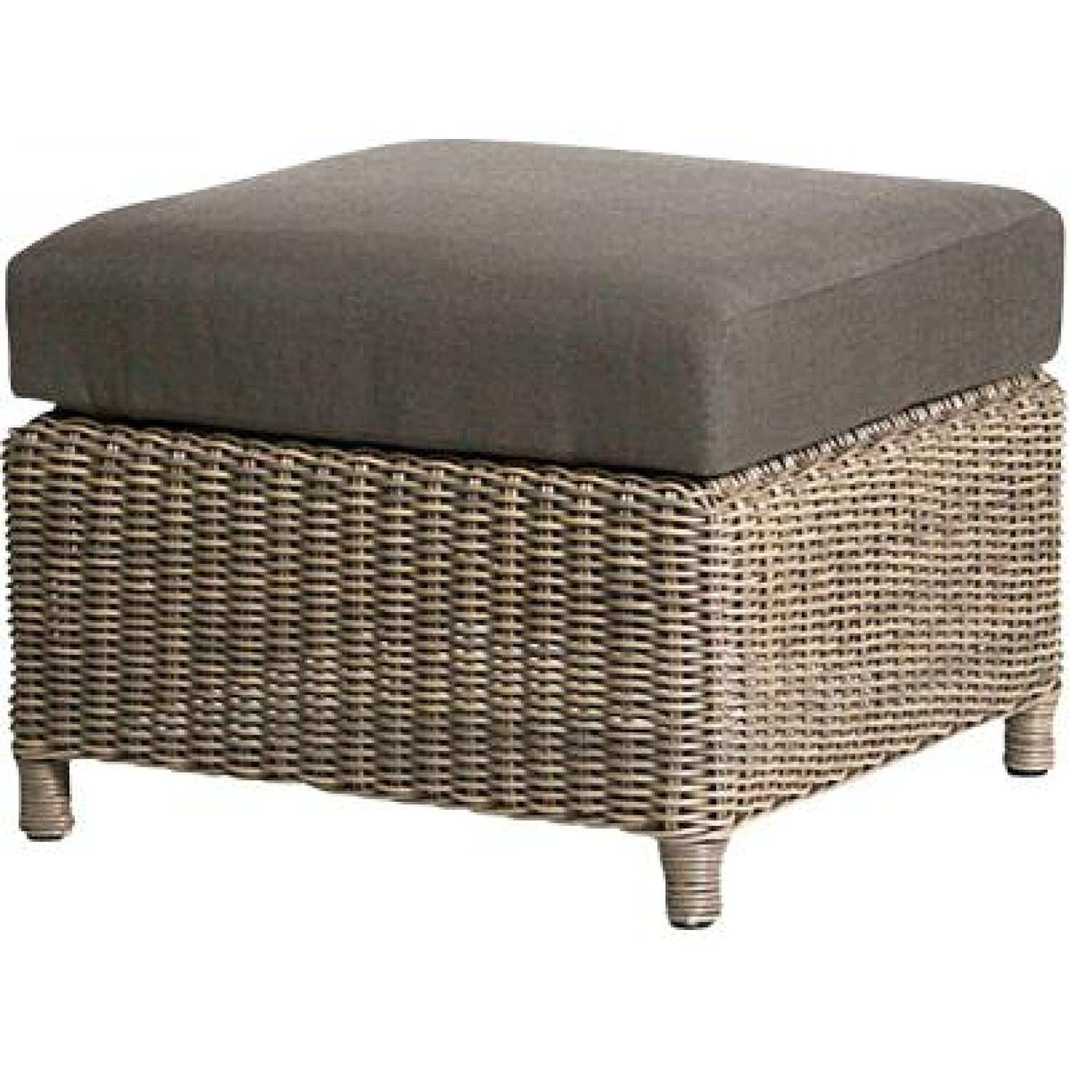 4Seasons Outdoor Lodge Fußhocker Polyrattan pure Loungehocker inkl Kissen