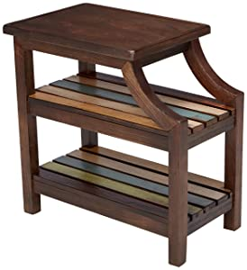 Ashley Furniture Signature Design - Mestler Casual Chair Side End Table - 2 Slotted Multi-Color Shelves - Rustic Brown