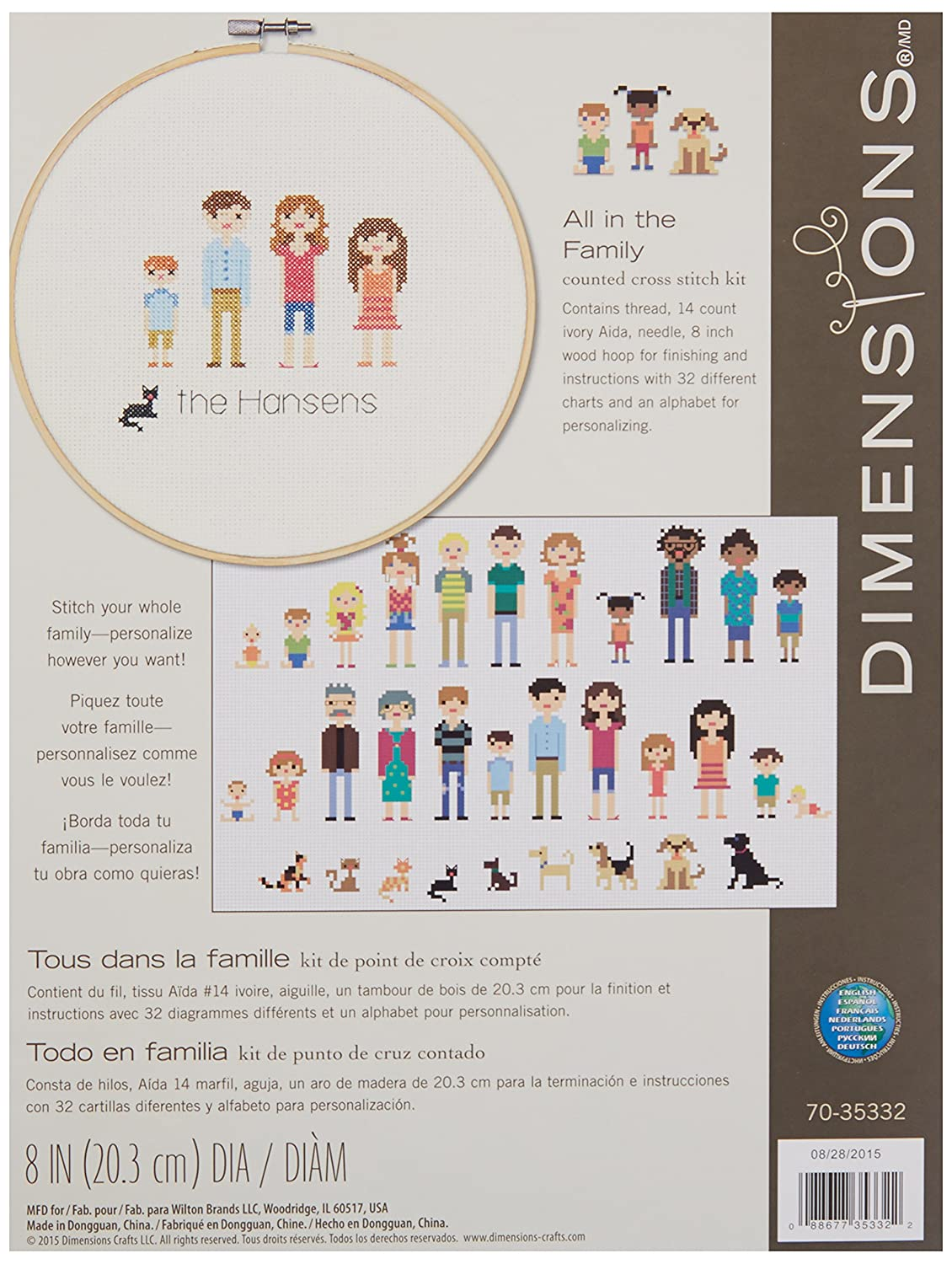 Amazon Com Dimensions All In The Family Counted Cross Stitch Kit