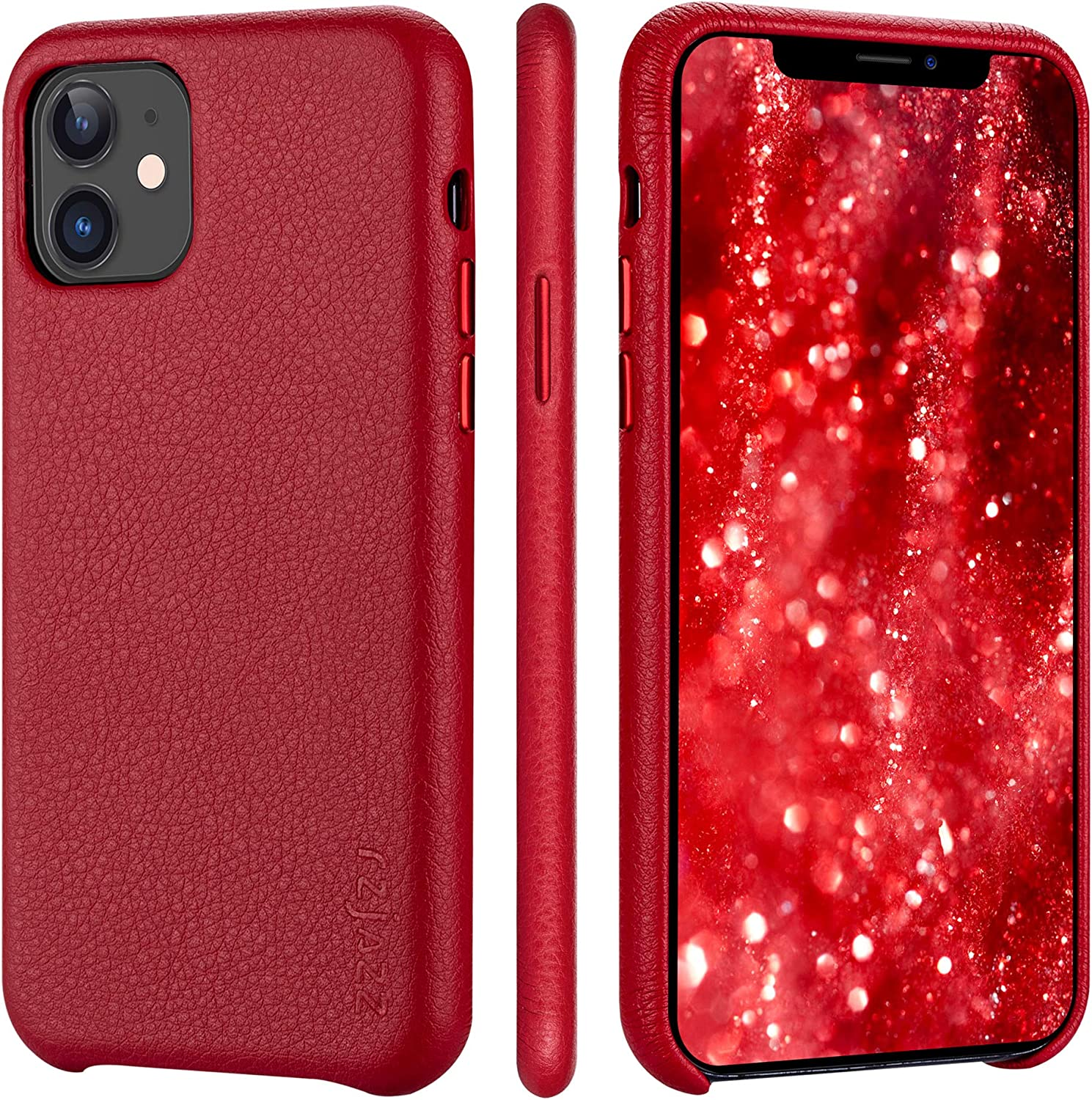 iPhone 11 Case Rejazz Anti-Scratch Iphone11 pro Cover Genuine Leather Apple iPhone Cases for iPhone 11 (6.1 Inch) (Red)