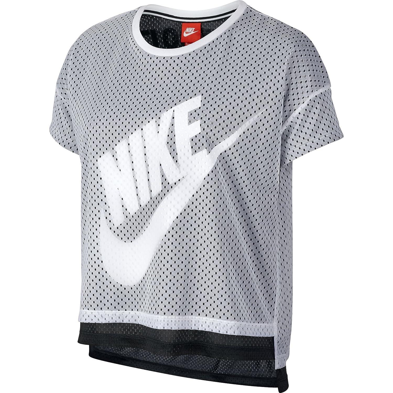 ec6de9ce62bc Nike Crop Mesh Women s T-Shirt Athletic White Black 726110-100 at Amazon  Women s Clothing store