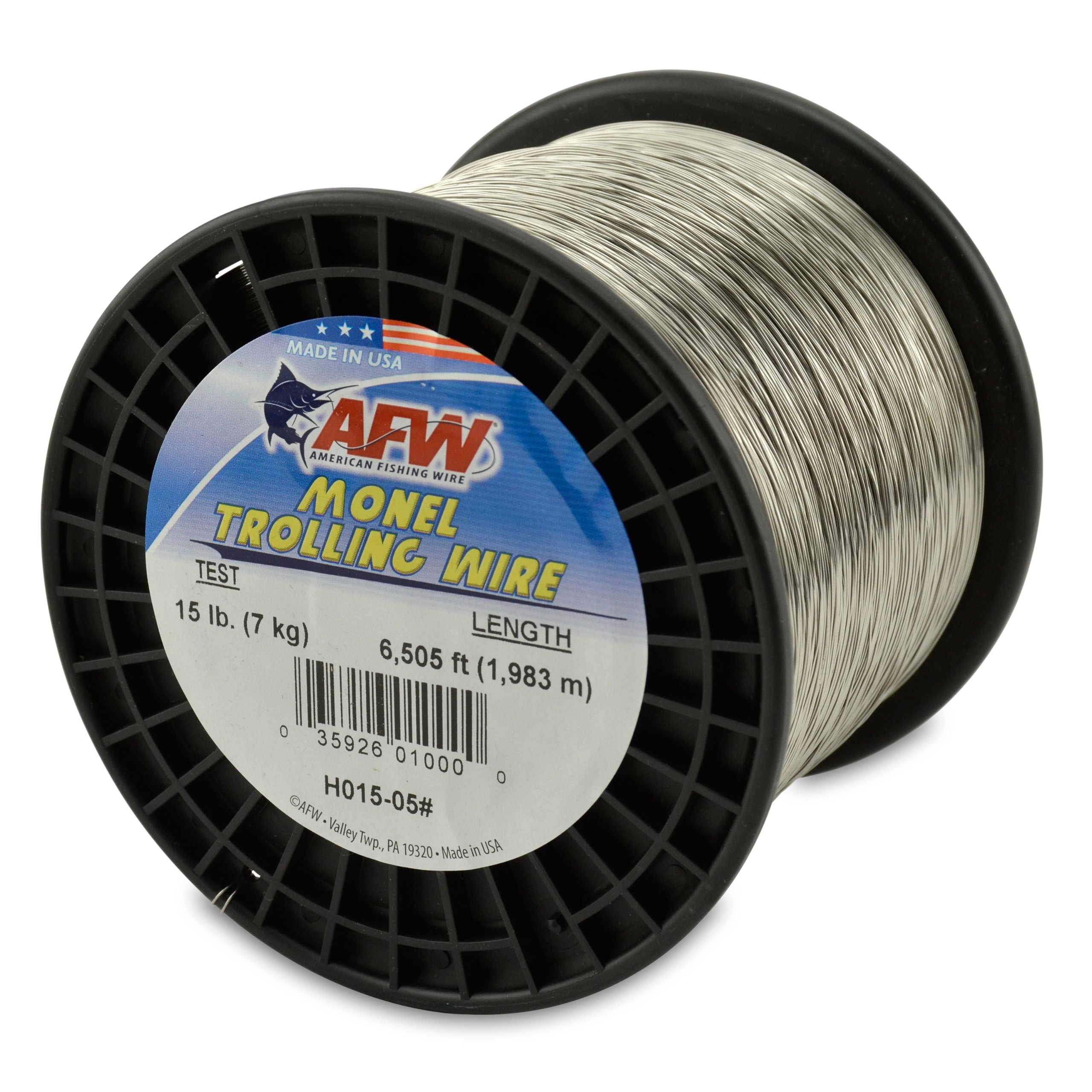 American Fishing Wire Monel Trolling Wire, 15-Pound Test/0.33mm Dia/1982m