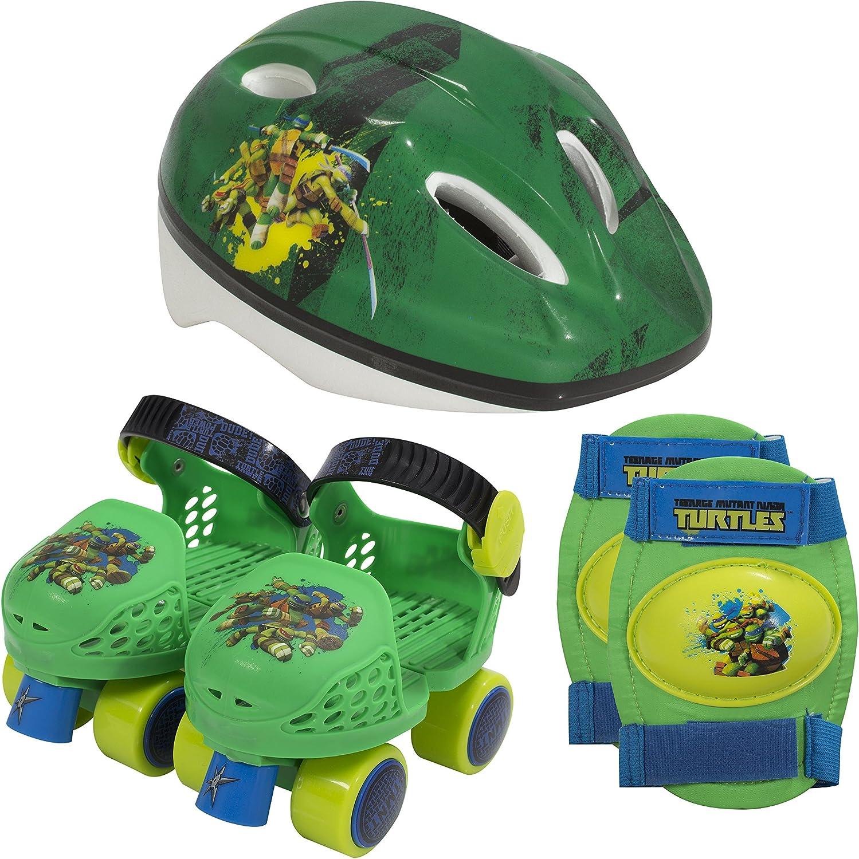 PlayWheels Teenage Mutant Ninja Turtles Roller Skates with Knee Pads and Helmet, Junior Size 6-12