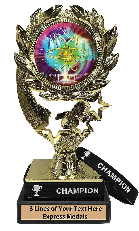 Express Medals サイエンスフェアトロフィー 取り外し可能 ウェアラブルチャンピオンリストバンド 大理石ベース カスタマイズ彫刻プレート B07KN5591P