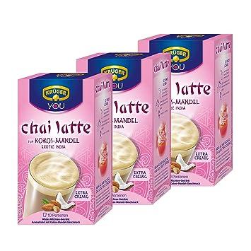 Krüger Chai Latte Exotic India, Coco de almendra, lávalo Leche Té tipos de (3 x 10 Bolsas): Amazon.es: Hogar