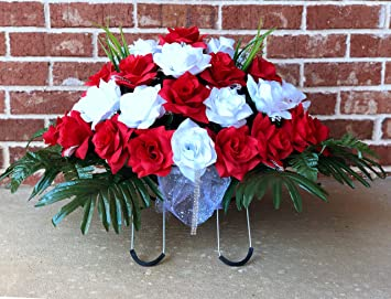 Amazon Com Starbouquets Cemetery Saddle Flowers Red And White Open Rose Silk Flowers Headstone Flower Saddle Cemetery Flowers Saddle Furniture Decor