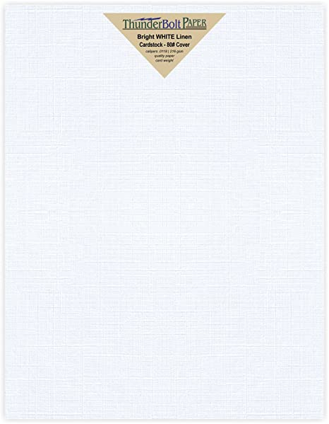 75 Bright White Linen 80 Cover Paper Sheets