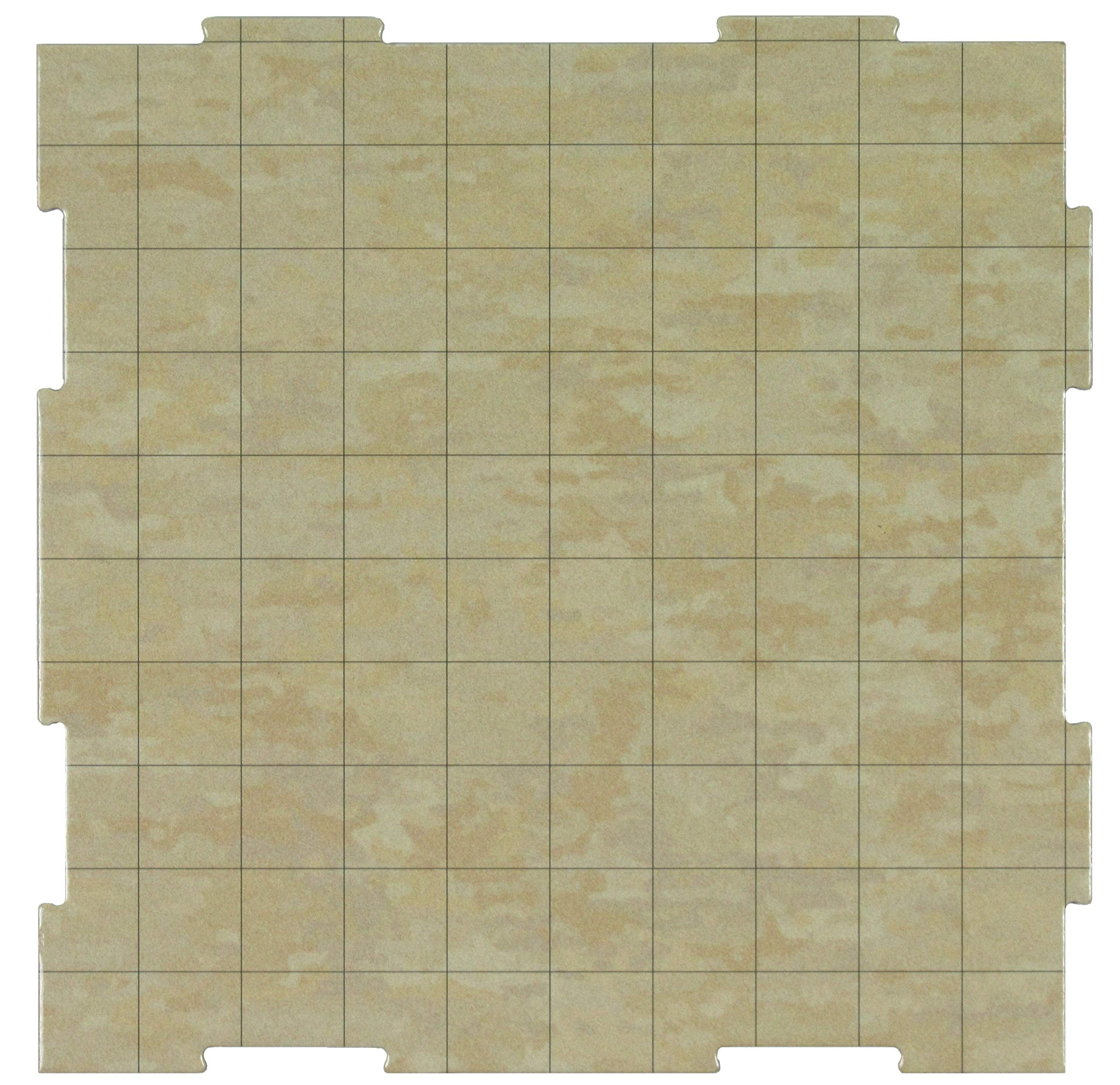 Dry Erase Dungeon Tiles, Earthtone, Set of Nine 10'' Interlocking Squares for Role-Playing and Miniature Tabletop Games