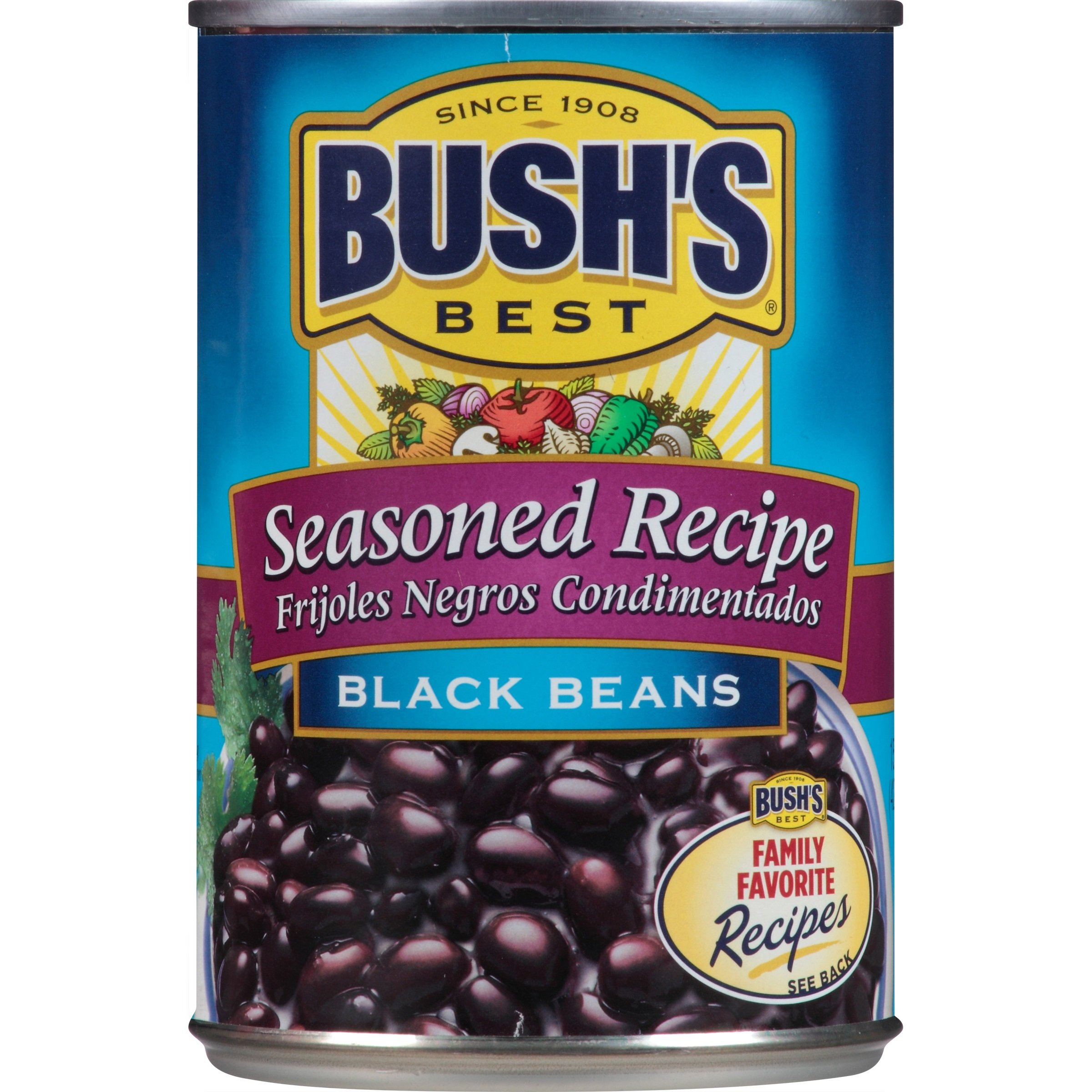 Bush's Best Seasoned Black Beans, 15 oz (12 cans)