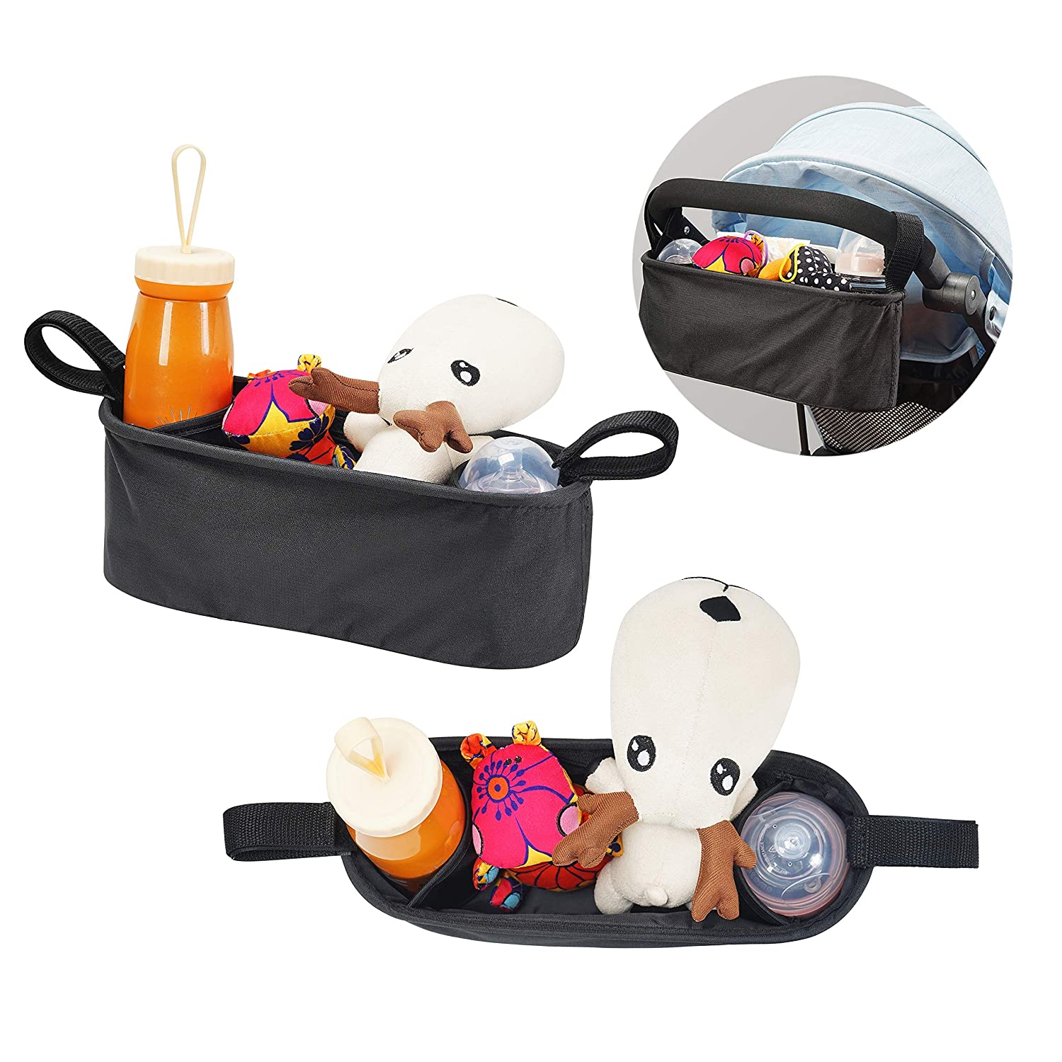 Pram Buggy Organiser Stroller Pushchair Storage Bag Diaper Changing Pad 2-in-1 with Multi-Pockets Cup Holders Foldable Storage Toys Diaper Bottles for Baby Infant