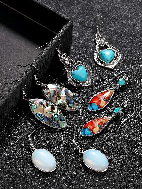 16 Pairs Bohemian Vintage Dangle Earrings Retro Rhinestone Drop Earrings Boho Pendant Earrings for Women Girls
