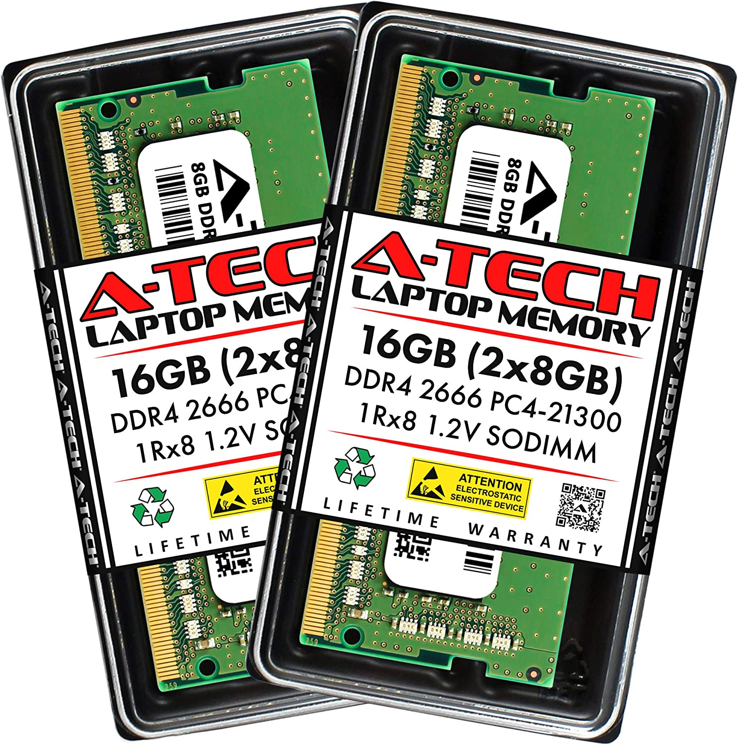 A-Tech 16GB (2x8GB) DDR4 2666MHz SODIMM PC4-21300 1Rx8 Single Rank 260-Pin CL19 1.2V Non-ECC Unbuffered Notebook Laptop RAM Memory Upgrade Kit