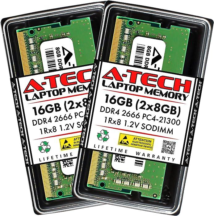 A-Tech 16GB (2x8GB) DDR4 2666MHz SODIMM PC4-21300 1Rx8 Single Rank 260-Pin CL19 1.2V Non-ECC Unbuffered Notebook Laptop RAM Memory Upgrade Kit