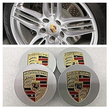 Tapones para el centro de llantas de aleación Porsche de 76 mm en color plateado y dorado Aurnoc.: Amazon.es: Coche y moto