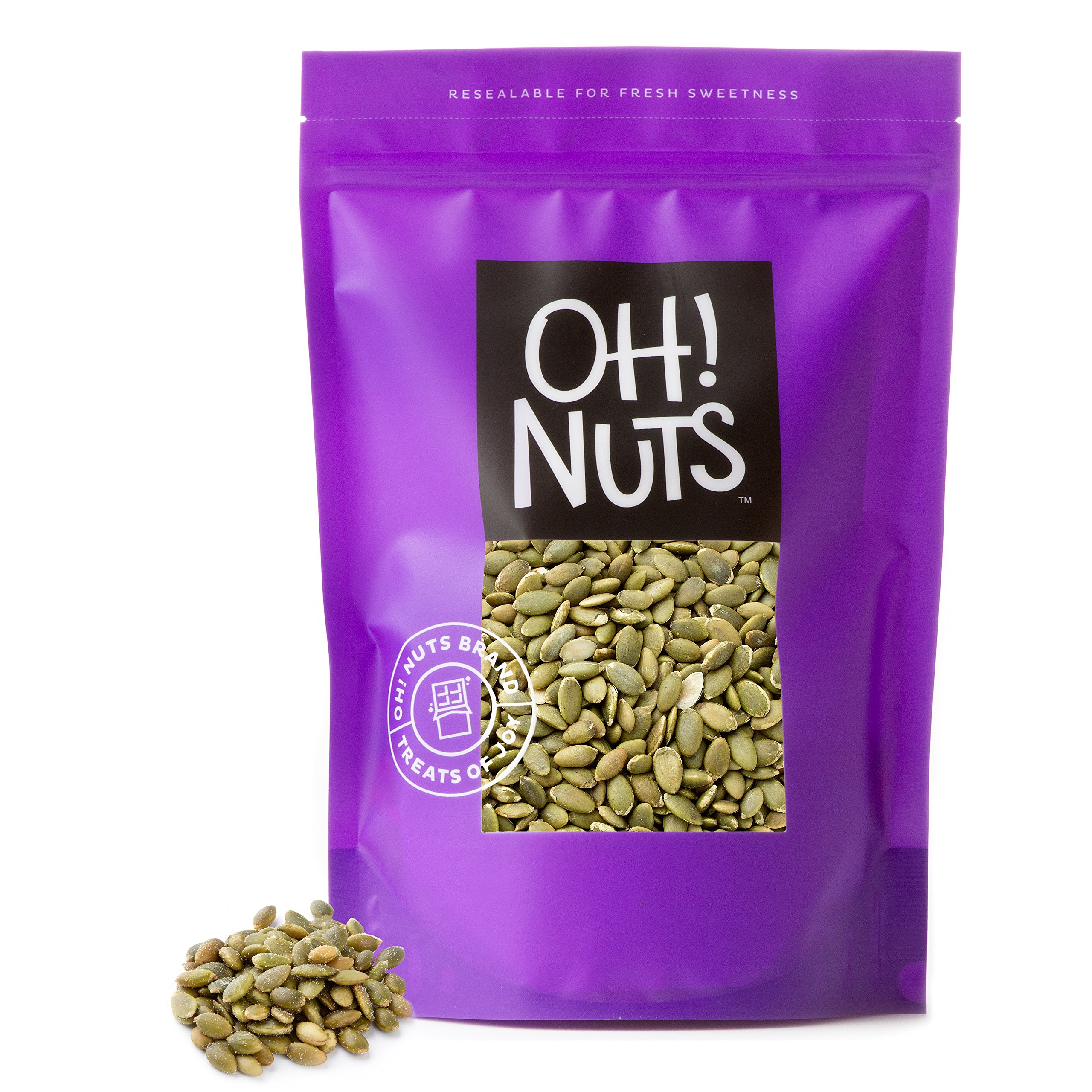 Pumpkin Seeds Raw Healthy Snack - Pepitas No Shell Unsalted High Proteins - Oh! Nuts ... (5 LB Bag)