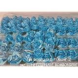 144 ROSE ROSELLINE TURCHESE per BOMBONIERE SPOSI LAUREA COMPLEANNO