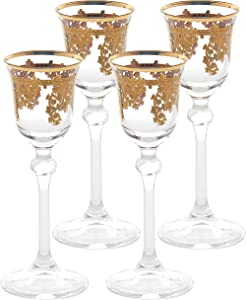 Lorren Home Trends Royal Set of 4 Embellished 24K Gold Crystal Liquor Goblets-Made In Italy, One Size, Clear