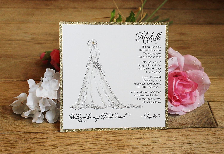 Amazon.com: Custom Will You Be My Bridesmaid Card, Gold Glitter ...