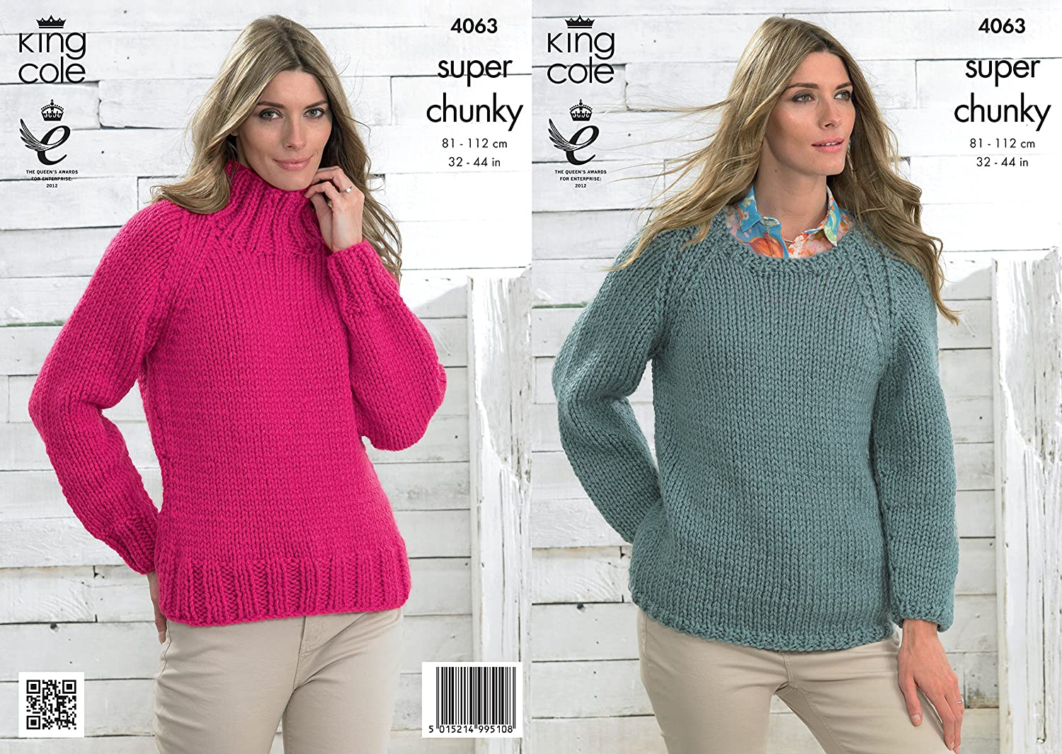 King Cole Ladies Super Chunky Knitting Pattern Womens Long Sleeved ...