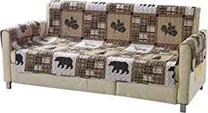 Rustic Modern Farmhouse Cabin Lodge Quilted Couch Sofa Loveseat Armchair Chair Recliner Slipcover Patchwork of Wildlife Grizzly Bears Deer Buck Plaid Check Patterns in Taupe Brown Western-1 (Loveseat)