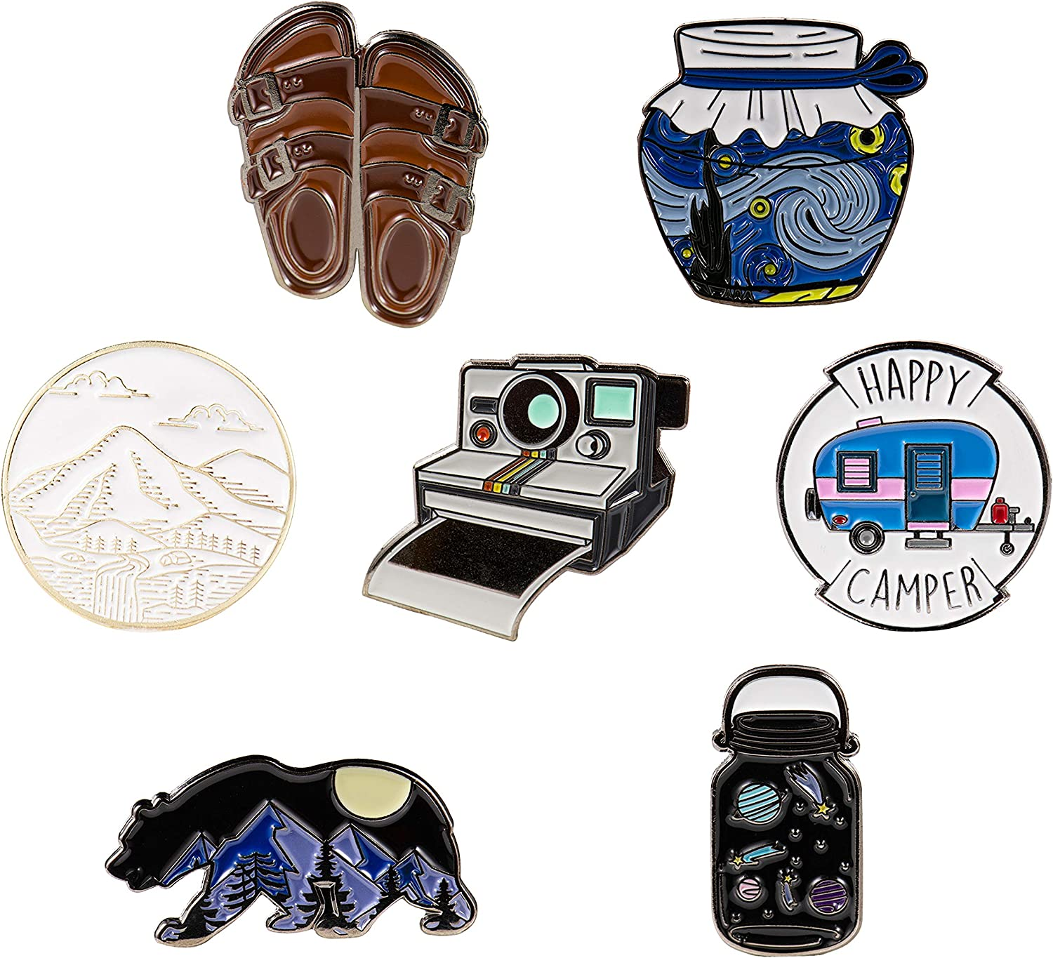 7 Outdoors Enamel Pins For Backpacks - enamel pin set | pins for jackets (Set 2)