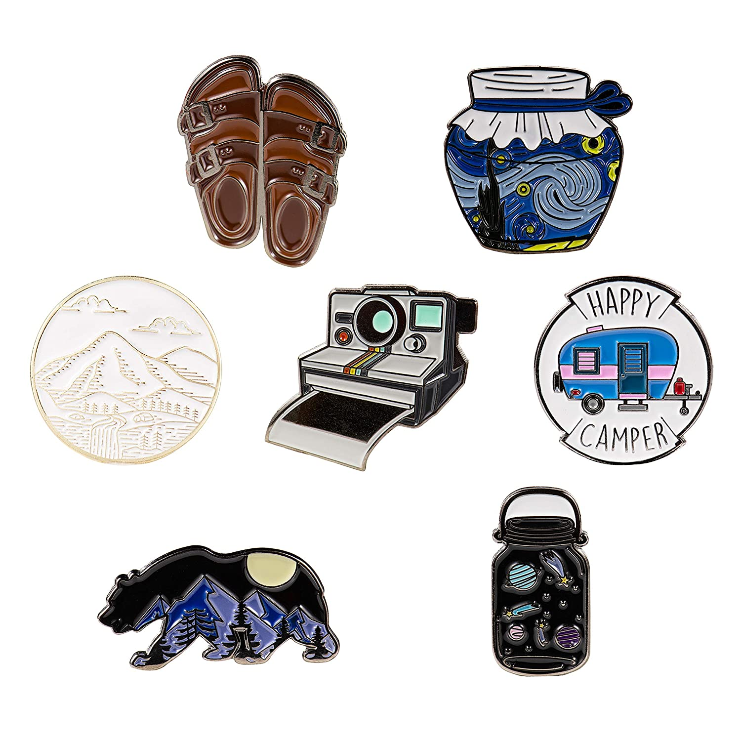 RipDesigns - 7 Outdoors Enamel Pins For Backpacks (Set 2) 91qQXH0hVBL