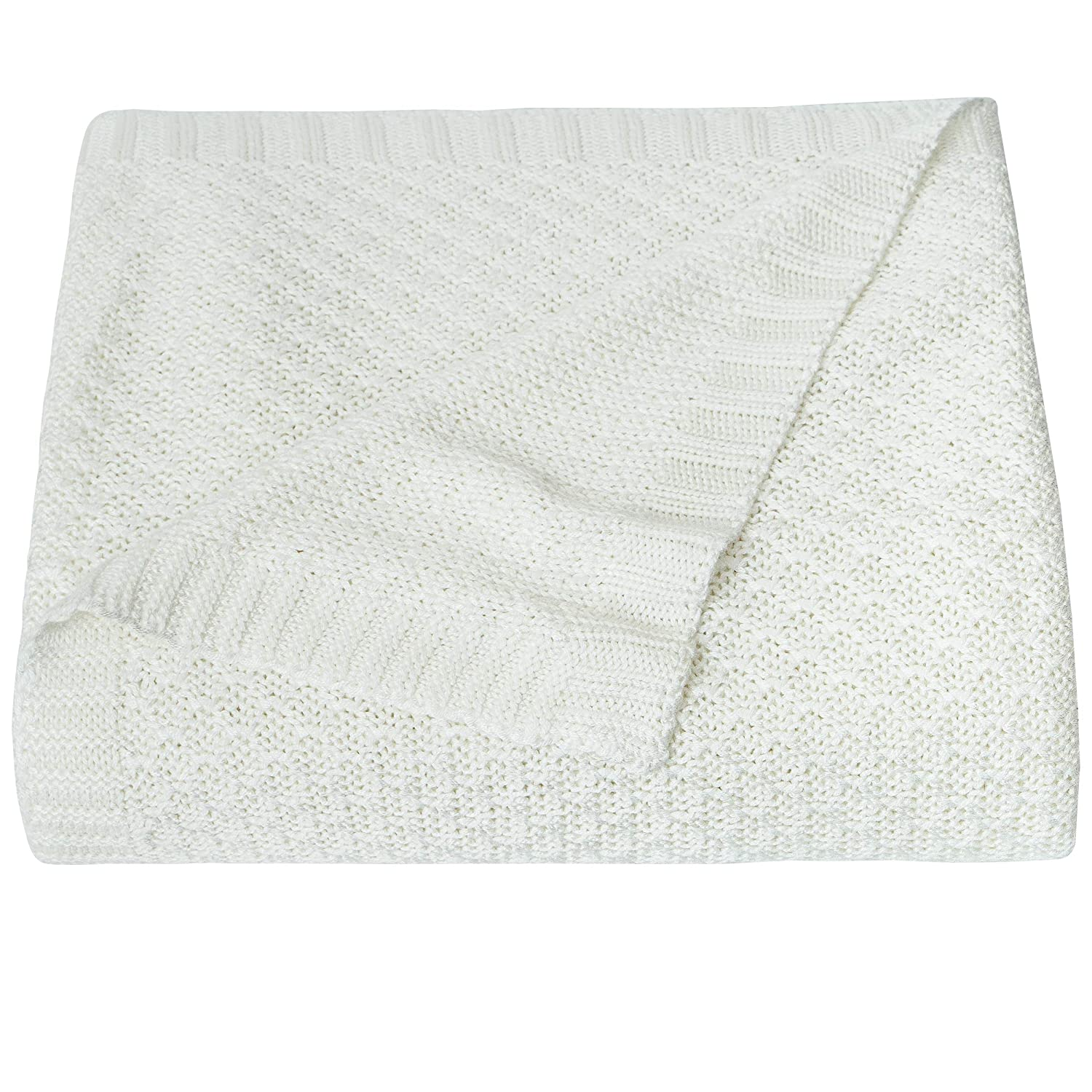 NTBAY Natural Bamboo Cable Knit Toddler Blanket, Soft and Cooling Touch Baby Blanket, 30 x 40 Inches, White