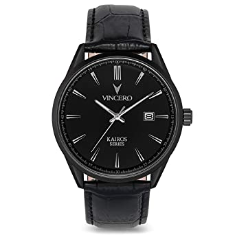 Vincero Luxury Mens Kairos Wrist Watch — Matte Black with Black Leather Watch Band — 42mm