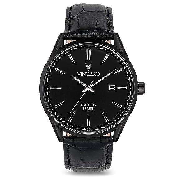 Amazon.com: Vincero Luxury Mens Kairos Wrist Watch — Matte Black with Black Leather Watch Band — 42mm Analog Watch — Japanese Quartz Movement: Vincero: ...