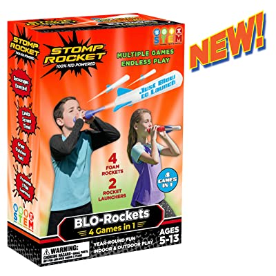 Stomp Rocket New BLO-Rockets - Includes 2 Launchers, 4 Rockets - Indoor and Outdoor Rocket Toy Gift for Boys and Girls Ages 5 (6, 7, 8) and Up: Toys & Games