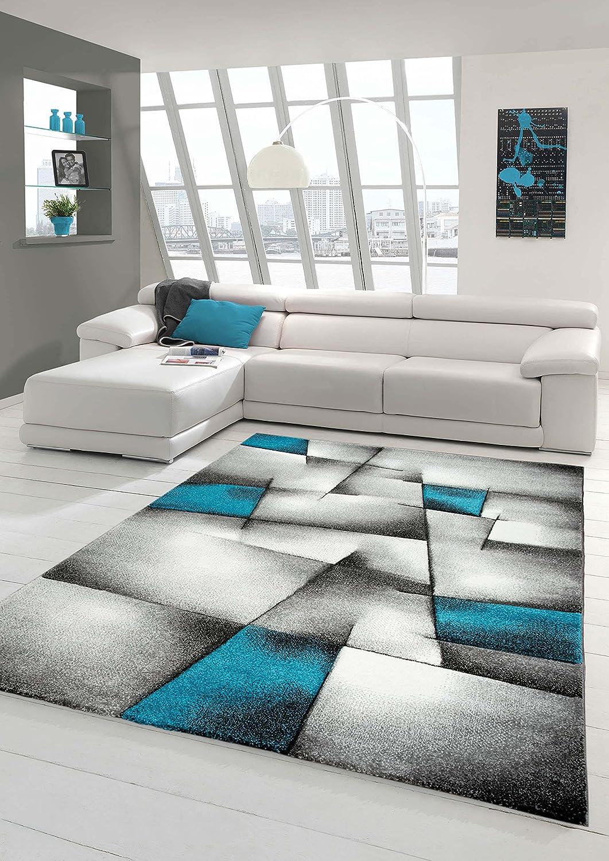 Designer Teppich Moderner Teppich Wohnzimmer Teppich Kurzflor Teppich mit Konturenschnitt Karo Muster Türkis Grau Weiß Schwarz Größe 120x170 cm B01NCN30ED Teppiche