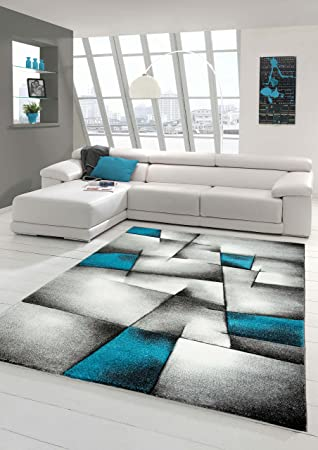 Elegant Designer Teppich Moderner Teppich Wohnzimmer Teppich Kurzflor Teppich Mit  Konturenschnitt Karo Muster Türkis Grau Weiß Schwarz