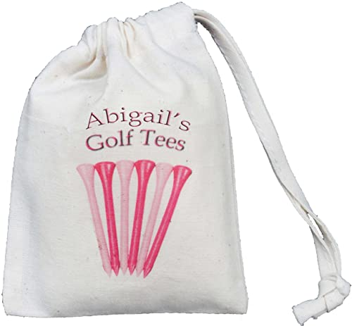 Personalised - Golf Tees Bag - Tiny Natural Cotton Drawstring Cotton Bag - Pink design - SUPPLIED EMPTY