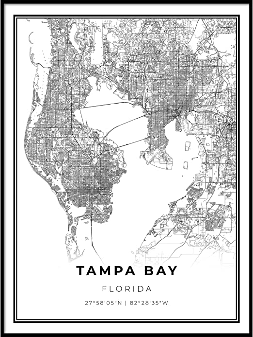 Amazon Com Skanndi Tampa Bay Area Map Print Florida Fl Usa Map Art Poster Modern Wall Art Street Map Artwork 24x36 Posters Prints Map of bay area rapid transit (bart) tracks. art poster modern wall art