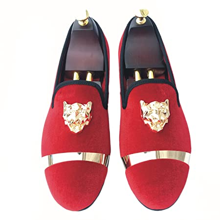 d0c0fd1d2d3f Justyourstyle Men s Velvet Loafers Slippers with Gold Buckle Wedding Dress  Shoes Slip-on Smoking Flats