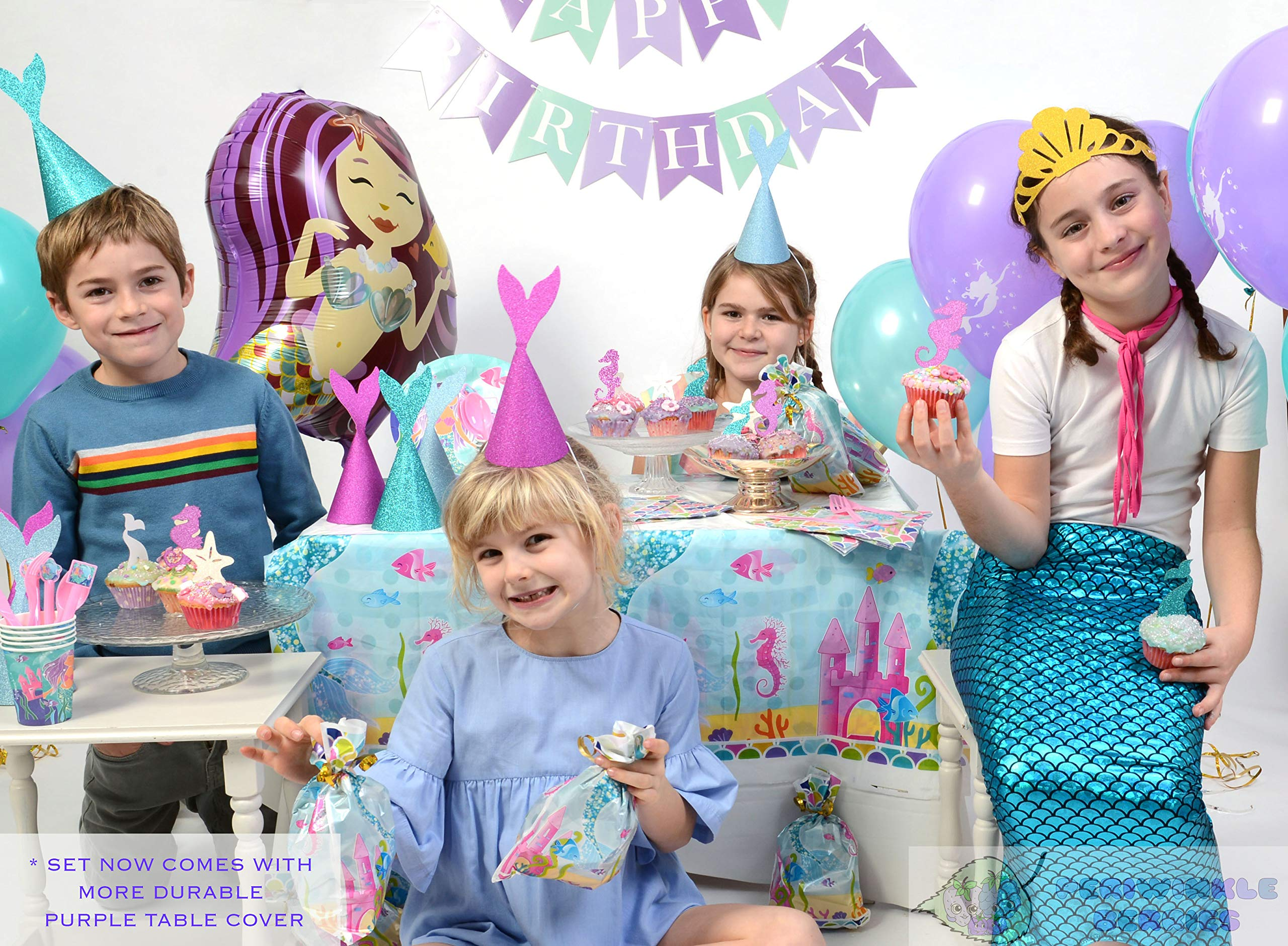 Mermaid Party Supplies - Complete Tableware and Decoration Deluxe Set - Plates, Cups, Utensils, Napkins, Table Cloth, Balloons, Happy Birthday Banner, Cupcake Topper, Favor Bags, Mermaid Hats & Crown by Periwinkle Berries (Image #1)