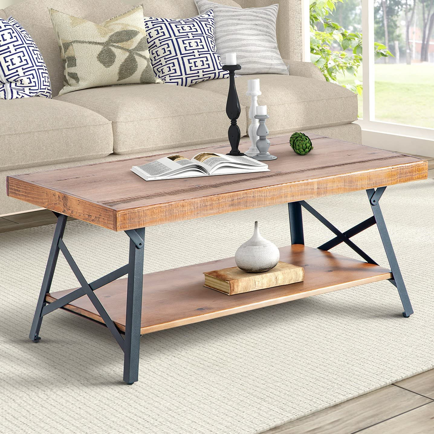 Harper Bright Designs 43 Lindor Collection Wood Coffee Table with Metal Legs,Living Room Set Rustic Brown, 43.3 L x 21.65 W x 18.34 H