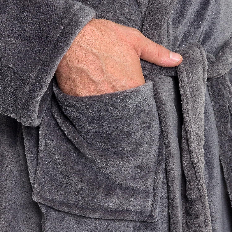 Ross Michaels Men's Hooded Robe - Plush Shawl Kimono Bathrobe for Men at  Men's Clothing store
