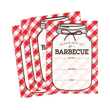 amazon com 50 mason jar summer bbq party invitations for children