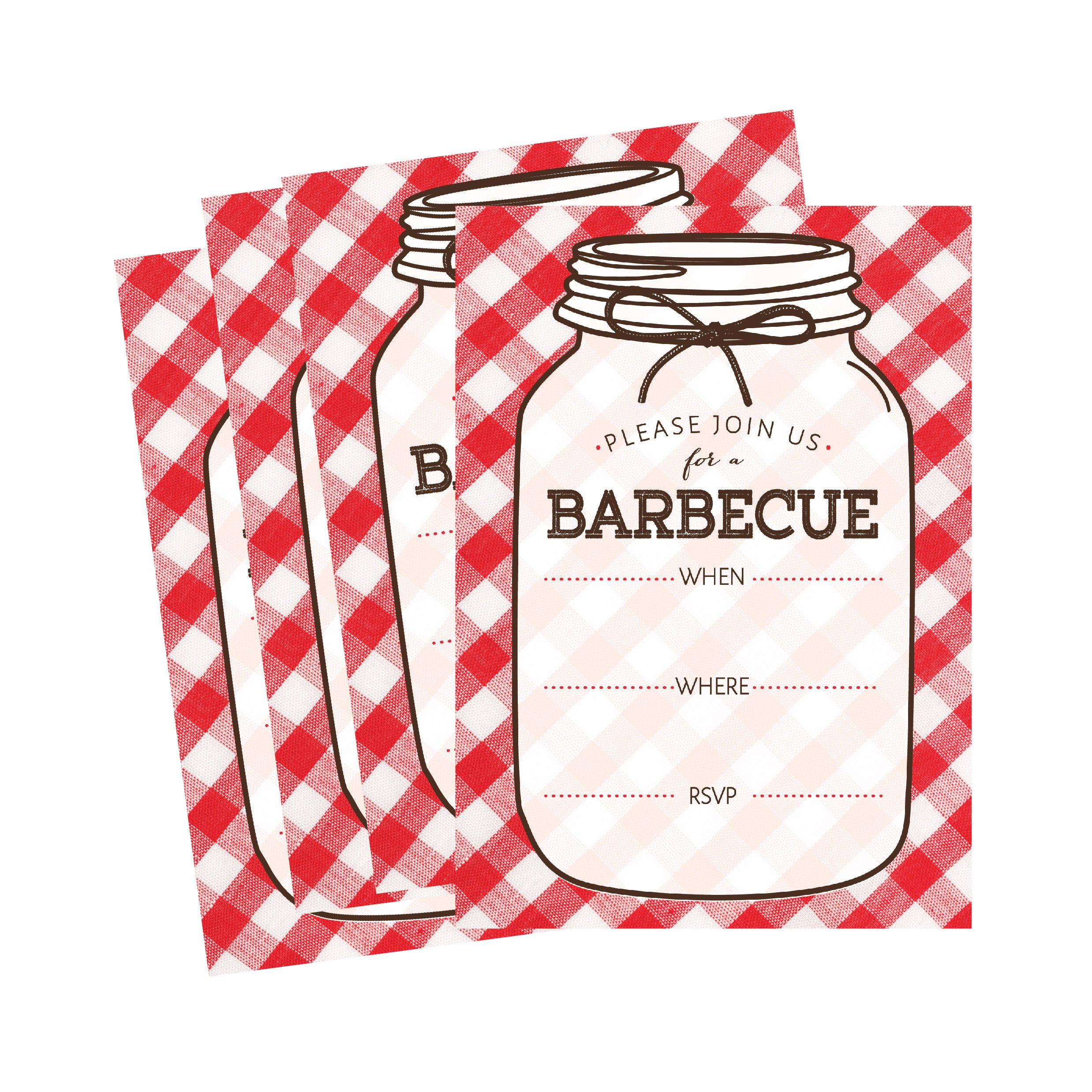 Amazon.com: 50 Wood Summer BBQ Party Invitations for Children, Kids ...