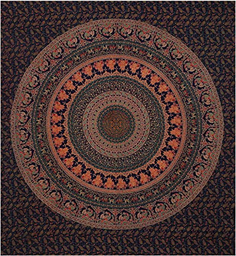 Charoil Enterprises Bohemian Brown Ombre Mandala Bedspread Indian Handmade Cotton Tapestries Hippie Dorm Decor Gypsy Bedcover Double Size Psychedelic Wall Hangings Cover