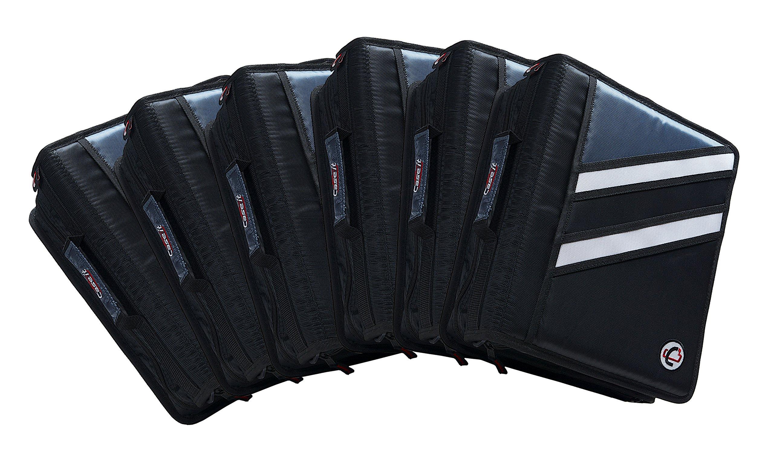 Case-it Z-Binder Two-in-One 1.5-Inch D-Ring Zipper Binder, Black, Case of 6 (Z-176-C-BLK)