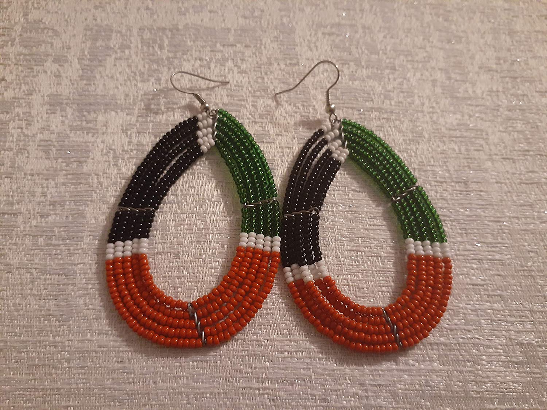 African Women Maasai Handcrafted Beaded Oval Earrings Kenyan Flag Colors
