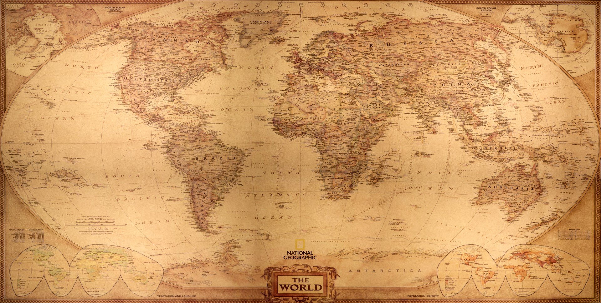 National Geographic Ancient World Map Framed Canvas Prints Modern Wall Art Decor by Fengshui-paintings.com
